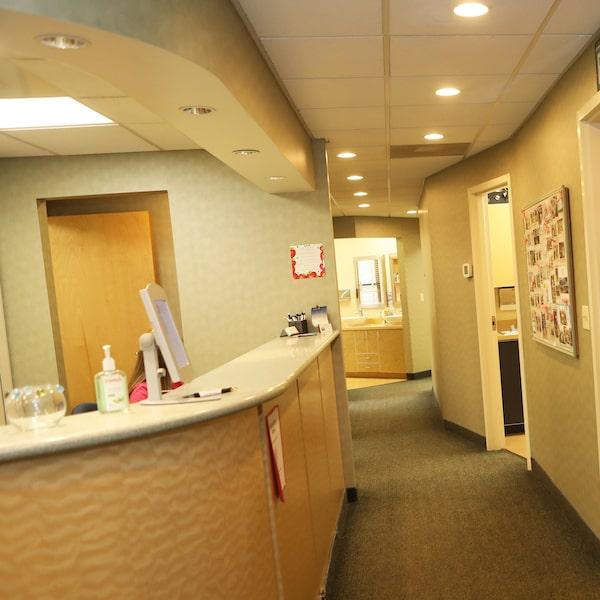 The reception area and hallway inside our friendly office