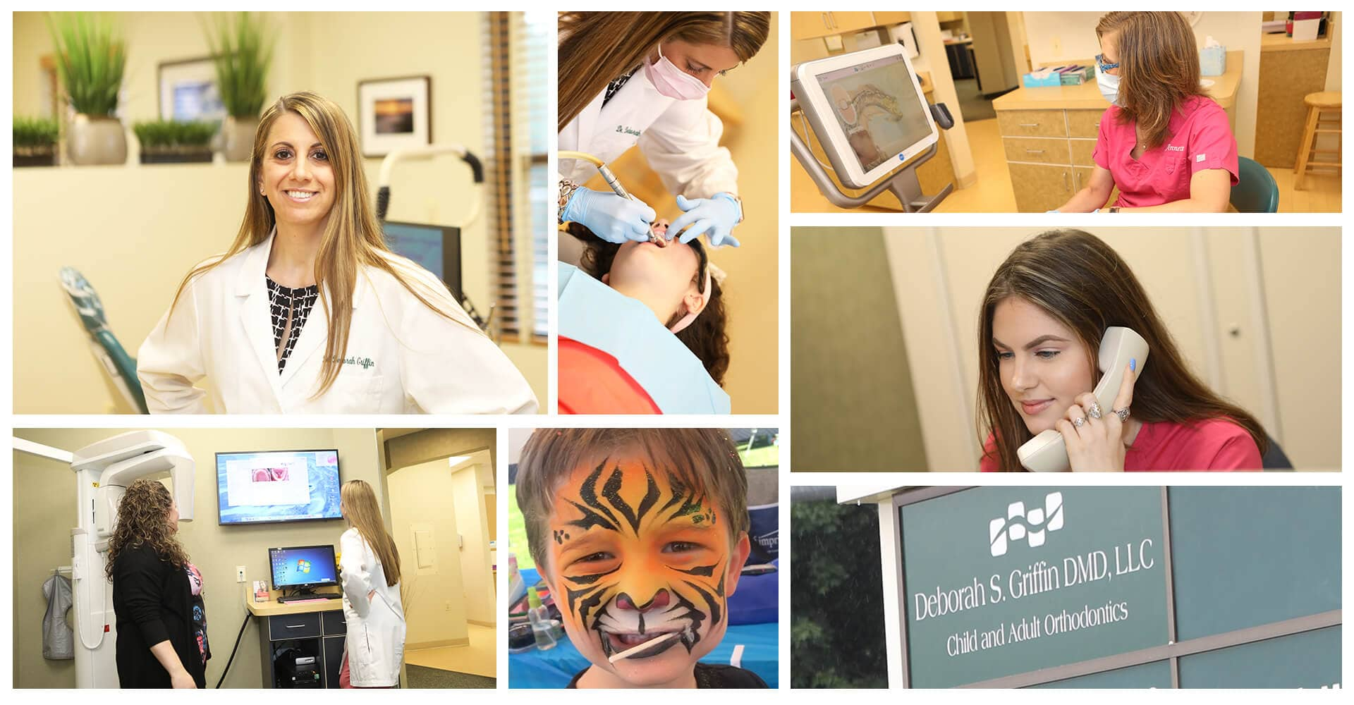 A collage showing our receptionists, dental assistants, and Dr. Deborah working in the office
